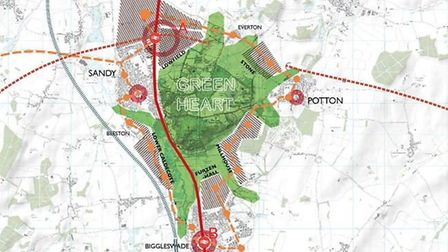 A map in the report, illustrating potential expansion of Biggleswade, Sandy and Potton. Picture: 5th