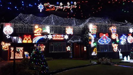 The fundraising Christmas display at the Wilmotts' house in St Neots Road. Picture: Martyn Beeby