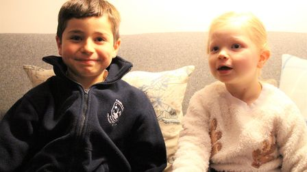 Orla with Luke, 8, and the letter he wrote to Santa. Picture Keech Hospice.
