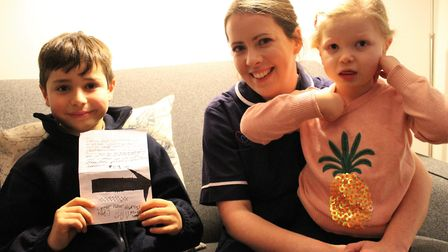 Luke and Orla, who has a brain tumour, is supported by her nurse, Carly, at Keech Hospice Care. Pict
