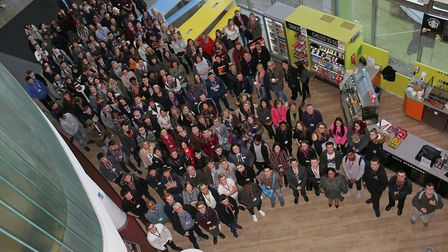 Staff and students of North Herts College gather to celebrate their good Ofsted inspection. Picture: