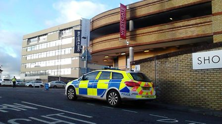 A police cordon is in place at the Westgate Shopping Centre in Stevenage this afternoon. Picture:Her