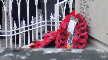 A Poppy wreath at Hitchin War Memorial. Picture: John Francis