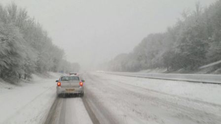 Snow on the A1(M). Picture: Sophie Blackman