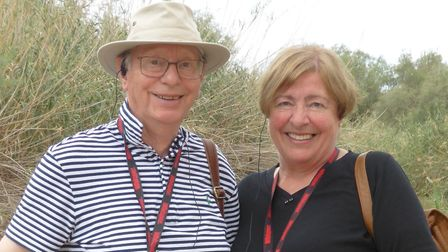 Madeline and Archie Russell during their trip to the Holy land.