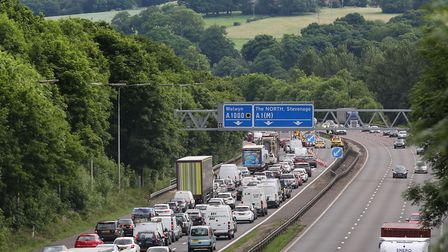 Traffic is building up on the A1(M) this evening.