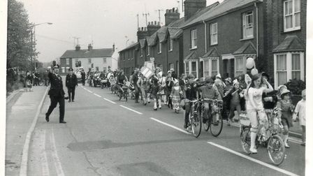 The fancy dress procession at the 1975 Walsworth Festival.