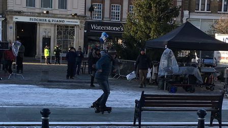 Filming in Hitchin for the Winter Olympics-themed Aldi advert. Picture: Hitchin BID