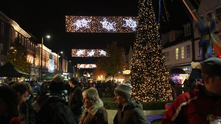 Looking down Leys Avenue after last year's Letchworth Christmas lights switch-on. Hitchin's lights w