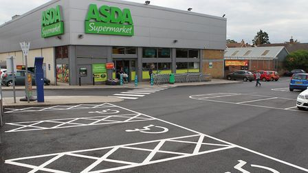 The car park outside Hitchin's Asda store. Picture: Danny Loo