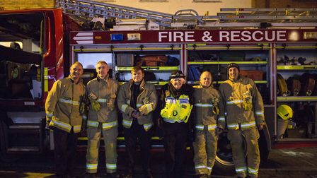 Biggleswade Christmas Fair lights switch-on 2017: The Fire & Rescue team and the Police supporting t