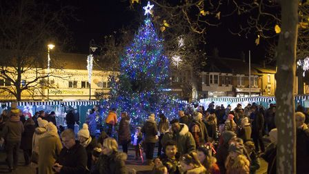 Biggleswade Christmas Fair lights switch-on 2017: The busy market sqaure complete with the Christmas