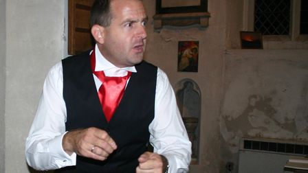Mat Jones during a dress rehearsal of A Christmas Carol at St Mary's Church in Henlow. Picture: Mat