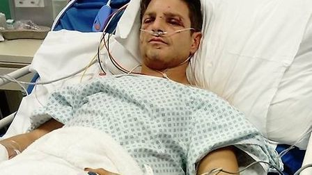 Clive Everitt in intensive care after his ordeal. Picture: Jane Godfrey