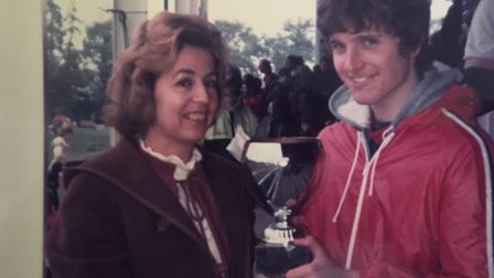 Rita Osborne presnts a trophy at the Herts county championships in 1984.