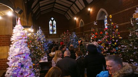 Visitors to Hitchin Christmas Tree Festival at Holy Saviour Church. Picture: Danny Loo