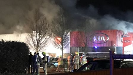 In total, eight fire crews attended the blaze at Mantles Kia dealership in York Way, Royston last n