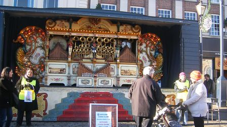 Hitchin Lions bring their fairground organ to Market Place in December 2014. Picture: Hitchin Lions