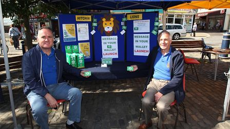 Phil Hall and Colin Davies man a Hitchin Lions Club health stall in 2015. Picture: Harry Hubbard