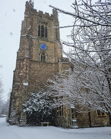St Mary's Church in Great Dunmow with a layer of snow. Picture: MARCUS FROST