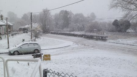 Snow in Ashdon: Picture: @MRAUTOGRAPHS/TWITTER