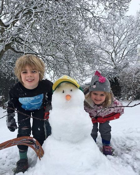 An Aussie snowman in Great Easton. Picture: GEORGE MAN