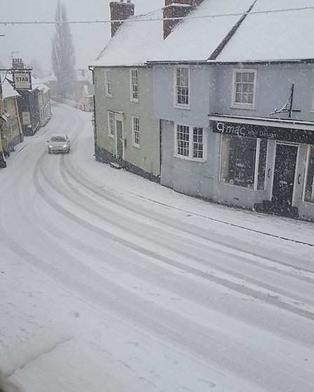 Snow in Great Dunmow town centre. Picture: JODY REYNOLDS