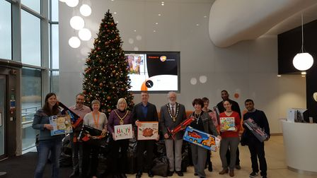The mayor of Stevenage's toy appeal sees staff from Stevenage firms collect gifts for less privilege