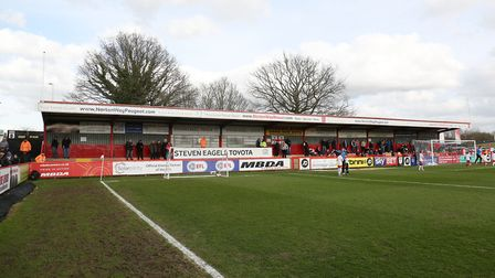 The North Stand at Stevenage FC, which will now be demolished and replaced. Picture: Danny Loo