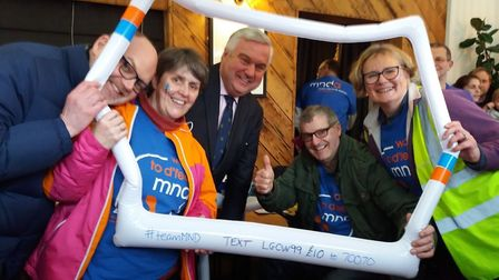 The Letchworth Walks to D'Feet MND team celebrate with Sir Oliver Heald after completing the 12th Gr