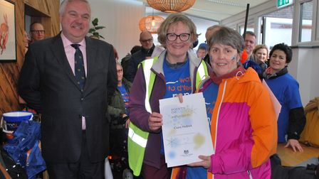 Letchworth Walks to D'Feet MND members Claire Pedrick and Margaret Grey receive the prime ministeria