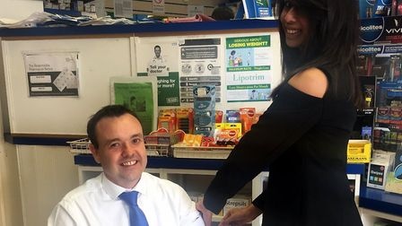 Stephen McPartland getting his flu vaccination at Bedwell pharmacy. Picture: Stephen McPartland