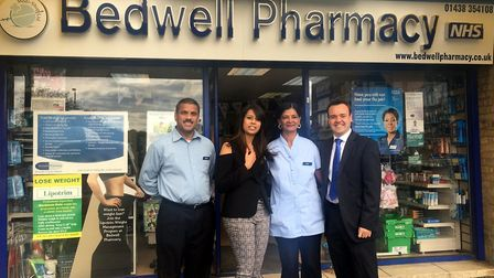 Staff at Bedwell Pharmacy with Stevenage MP Stephen McPartland