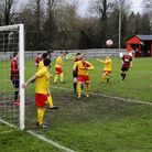 Action from Saffron Walden Town's clash with Walsham le Willows (pic Jamie Pluck)