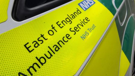 Ambulance are in attendance following a collision between a car and a cyclist.