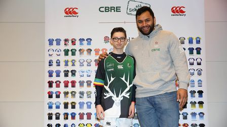 Ben Galvin from Letchworth's Fearnhill School with England's Billy Vunipola the England vs Italy Six
