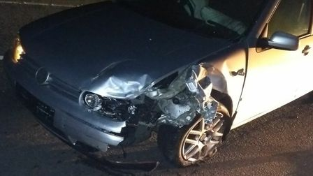 A Volkswagen Golf, driven by Damian Davidson was also involved in the smash. Picture: Lesley Broadhe