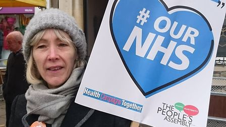 Anne Holland at the North Herts People's Assembly demonstration in Hitchin against NHS cuts. Picture