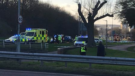 The scene at Six Hills Way in Stevenage after the crash involving a pedestrian. Picture: Stuart Hubn
