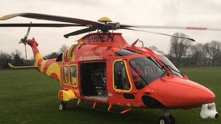 An air ambulance put down on King George V playing fields in Stevenage this morning. Picture: submit