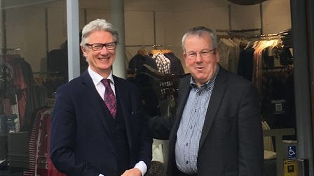In happier times: Peter Hawkins with Hitchin town centre manager Keith Hoskins. Picture: Hitchin BID