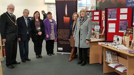 Stevenage mayor Pam Stuart, her consort Tony Turner, library manager Michelle Lloyd, and members of