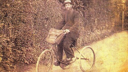 James Rennie on his tricycle, which he used to travel around the villages of North Hertfordshire. Pi
