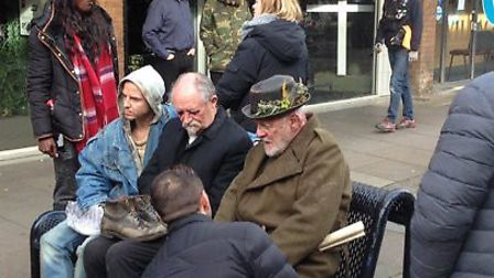 Sir Anthony Hopkins pictured filming scenes from a new adaptation of Shakespeare's King Lear in Stev