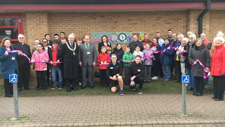The official unveiling of the TV, film, sports and recreation mosaic in Biggleswade. Picture: Centra