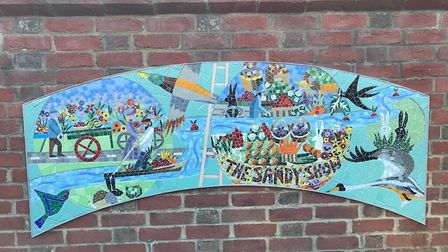 The mosaic showing an image of the Sandy show. Picture Central Beds Council.
