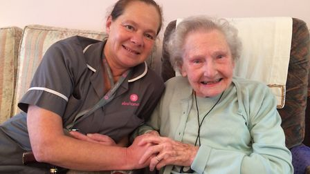 Herts home care worker Dee Casey paid a Christmas visit to resident Joyce Bishop. Picture: Herts Cou