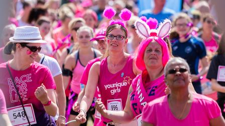 Stevenage Race for Life 2017: There was a sea of pink for the warm up. Picture: Simon Jenkins