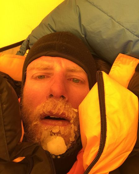 James in the tent following his Everest ascent. Pic: James Brooman