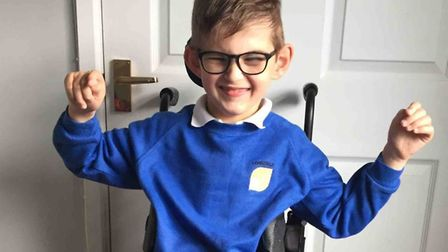 Cameron Oliver, nine, has cerebral palsy and needs ongoing physiotherapy. Picture: Stephanie Oliver.